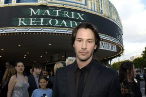 "Keanu Reeves arrives at ""The Matrix Reloaded"" premiere on May 7, 2003, at the Mann Village Theater in L.A. (Photo: L. Cohen/WireImage)"